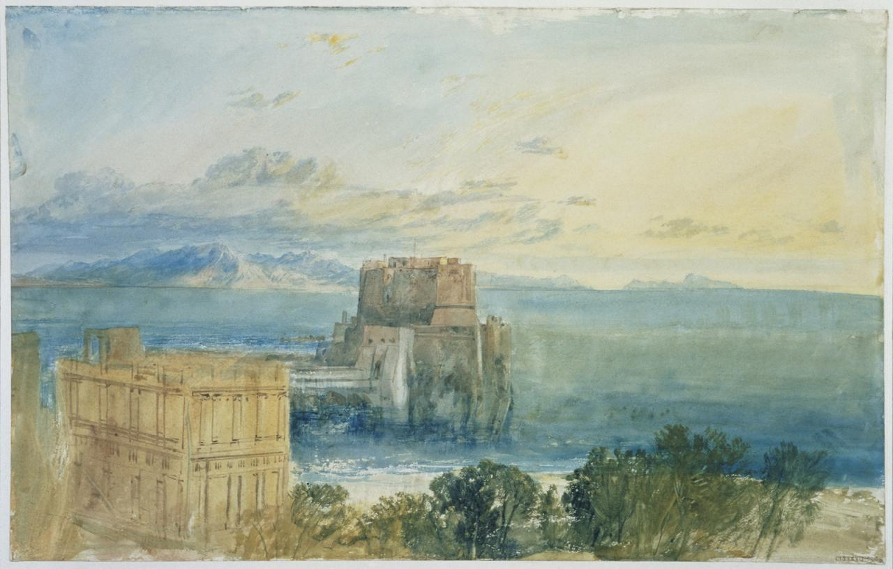 Joseph Mallord William Turner,The Castel dell'Ovo, Naples, with Capri in the Distance image