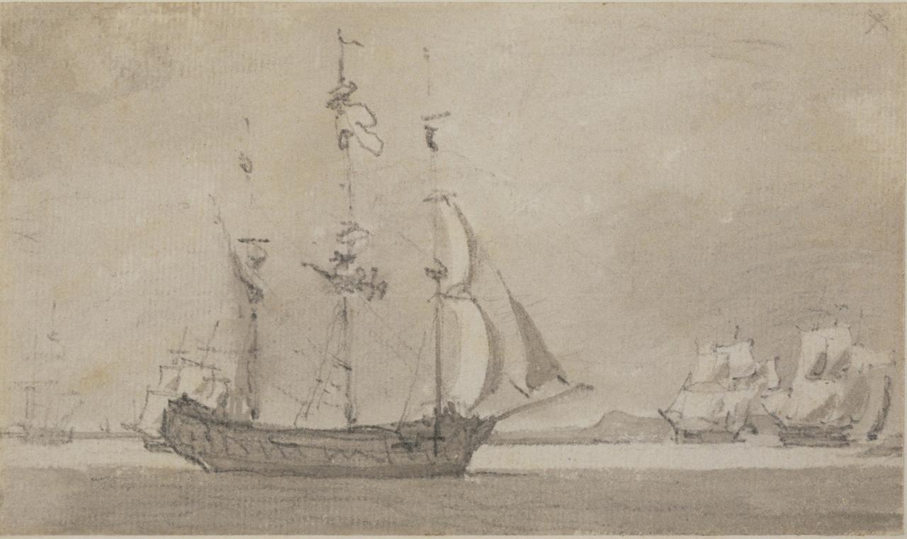 约翰.康斯塔伯《在泰晤士河或麦德威河上航行》的图片