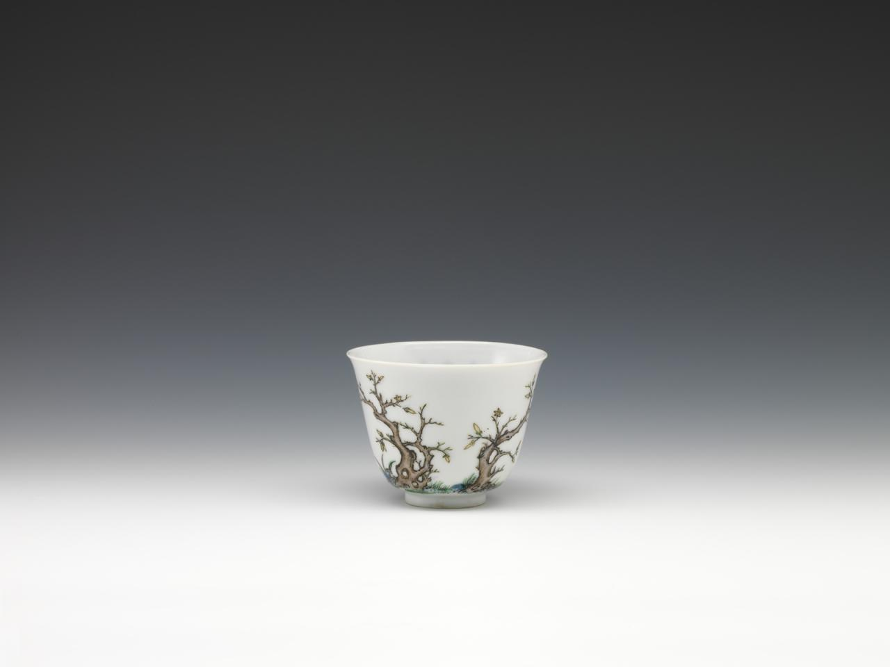 Twelve cups with flowers representing the twelve months in wucai enamels-March image