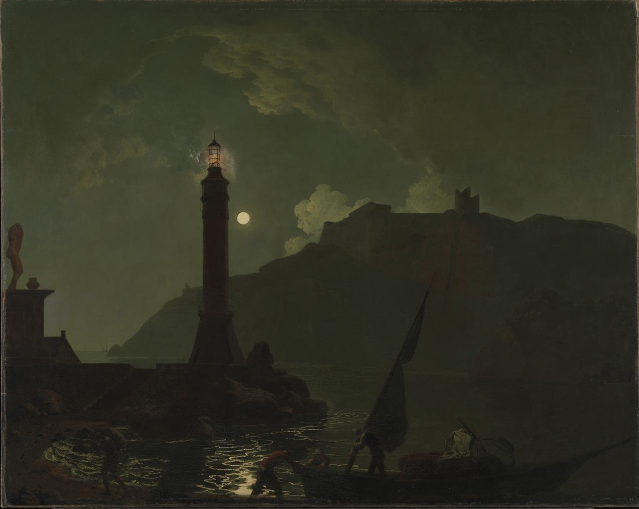 "Joseph Wright of Derby, ""A Moonlight with a Lighthouse, Coast of Tuscany"" image"
