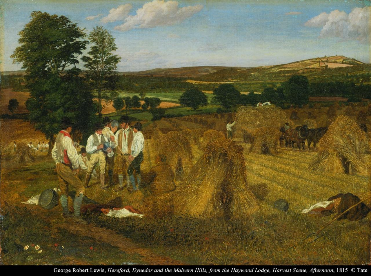 George Robert Lewis,Hereford, Dynedor and the Malvern Hills, from the Haywood Lodge, Harvest Scene, Afternoon image