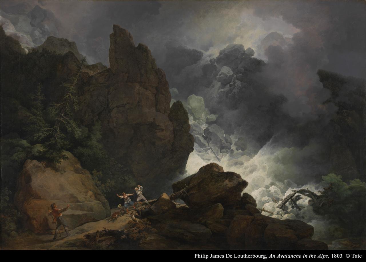 菲利普.詹士.德.卢戴尔布格《阿尔卑斯山的雪崩》的图片