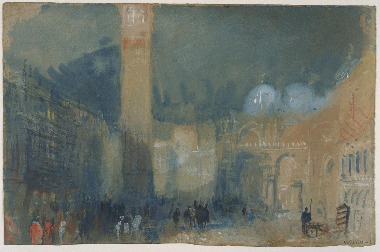 约瑟夫.马洛.威廉.泰纳《威尼斯:萨尔扎纳、圣马可区与圣马可钟楼之夜色》的图片