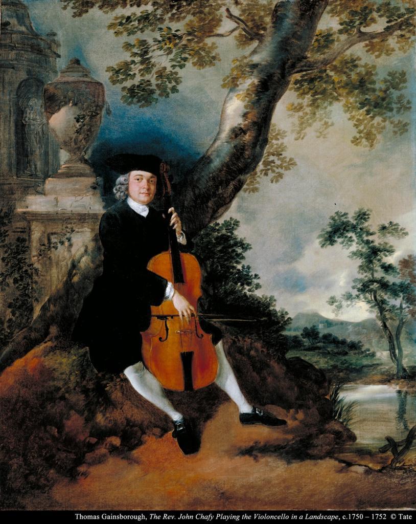 托马斯.庚斯博罗《约翰.查非牧师在户外演奏大提琴》的图片