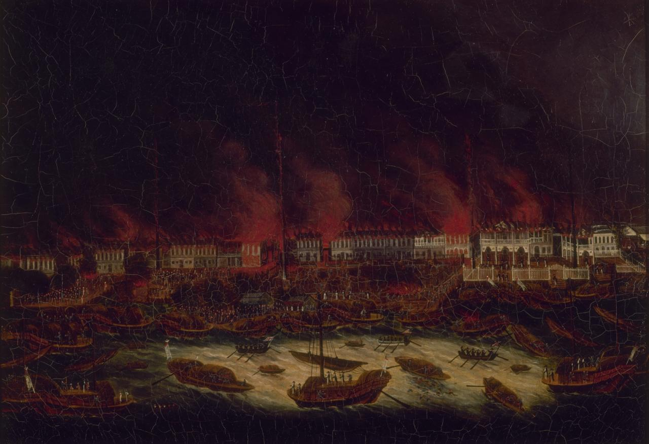 """Anonymous Artist, """"The Great Fire of Canton's Thirteen Factories, Blazing and Roaring"""" image"""