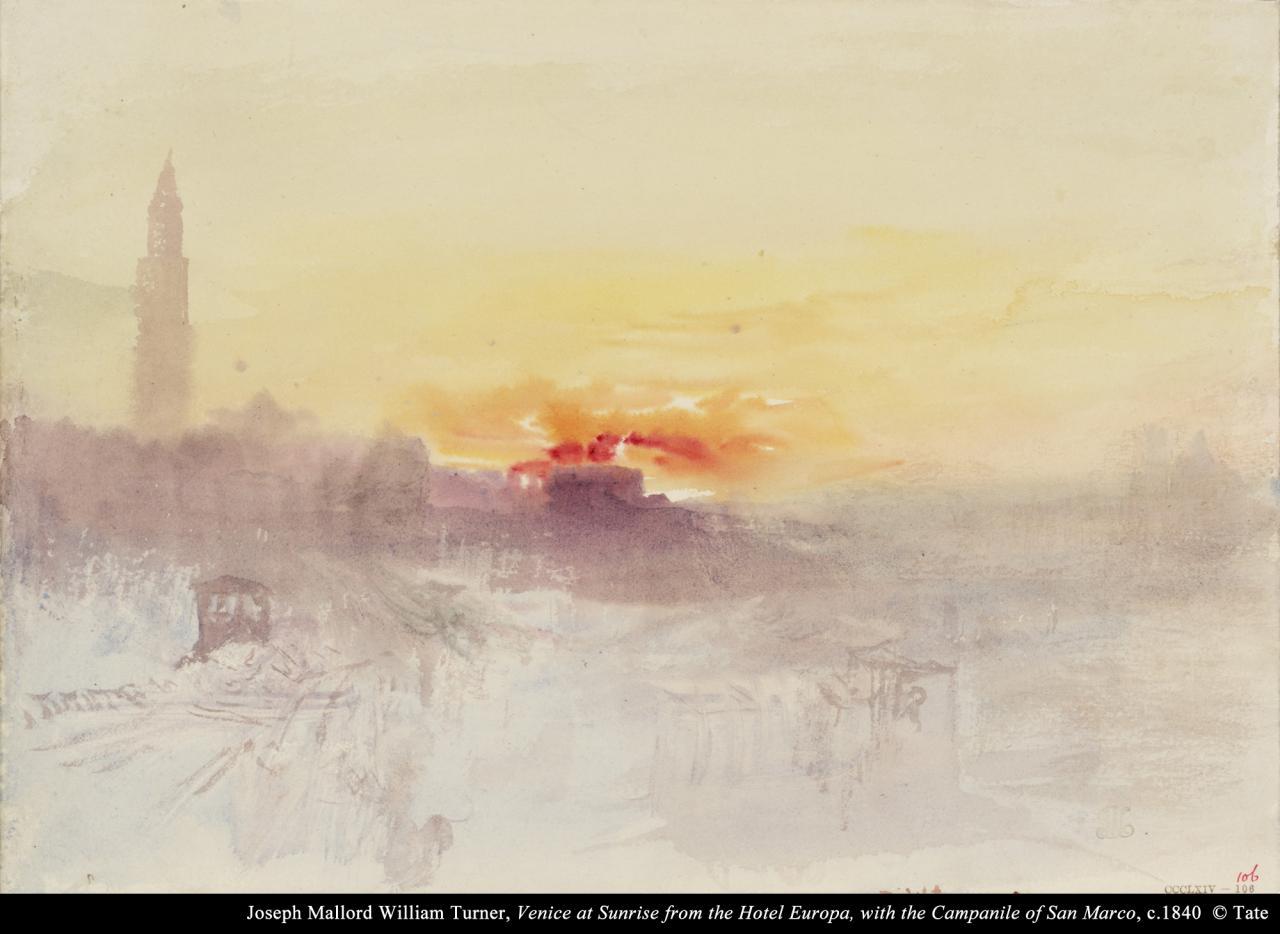 约瑟夫.马洛.威廉.泰纳《从欧陆酒店眺望威尼斯日出与圣马可钟楼》  的图片