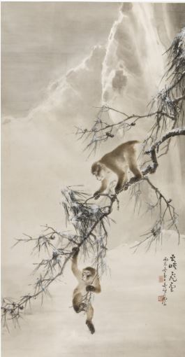 "Gao Qifeng, ""Monkeys and Snowy Pine"" image"