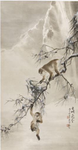 Gao Qifeng, 'Monkeys and Snowy Pine' image