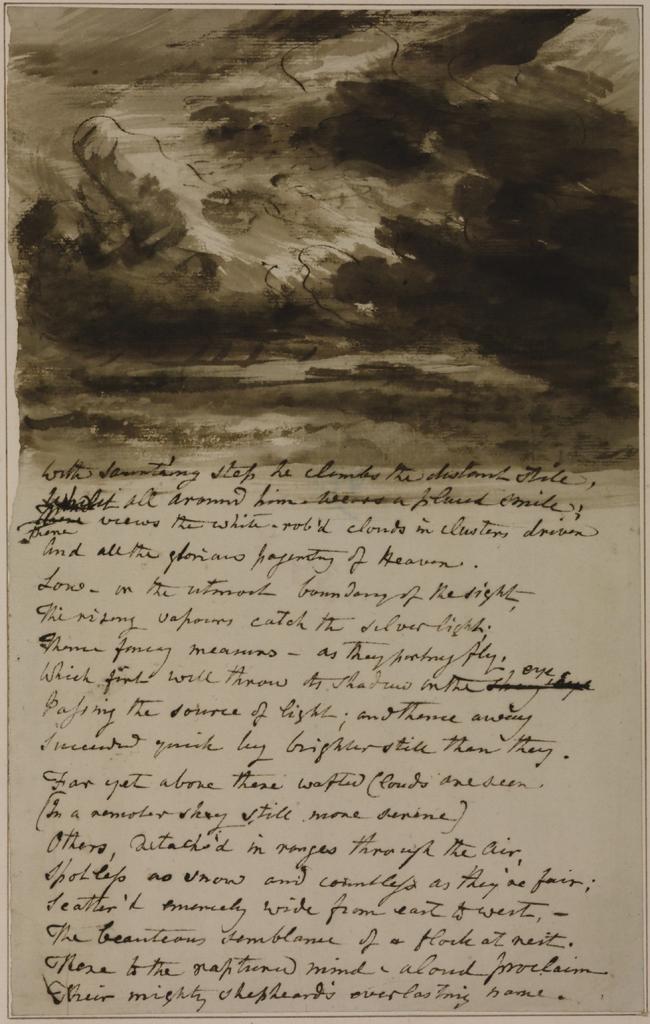 约翰.康斯塔伯《附有布鲁姆菲尔德诗句的绘云习作》的图片