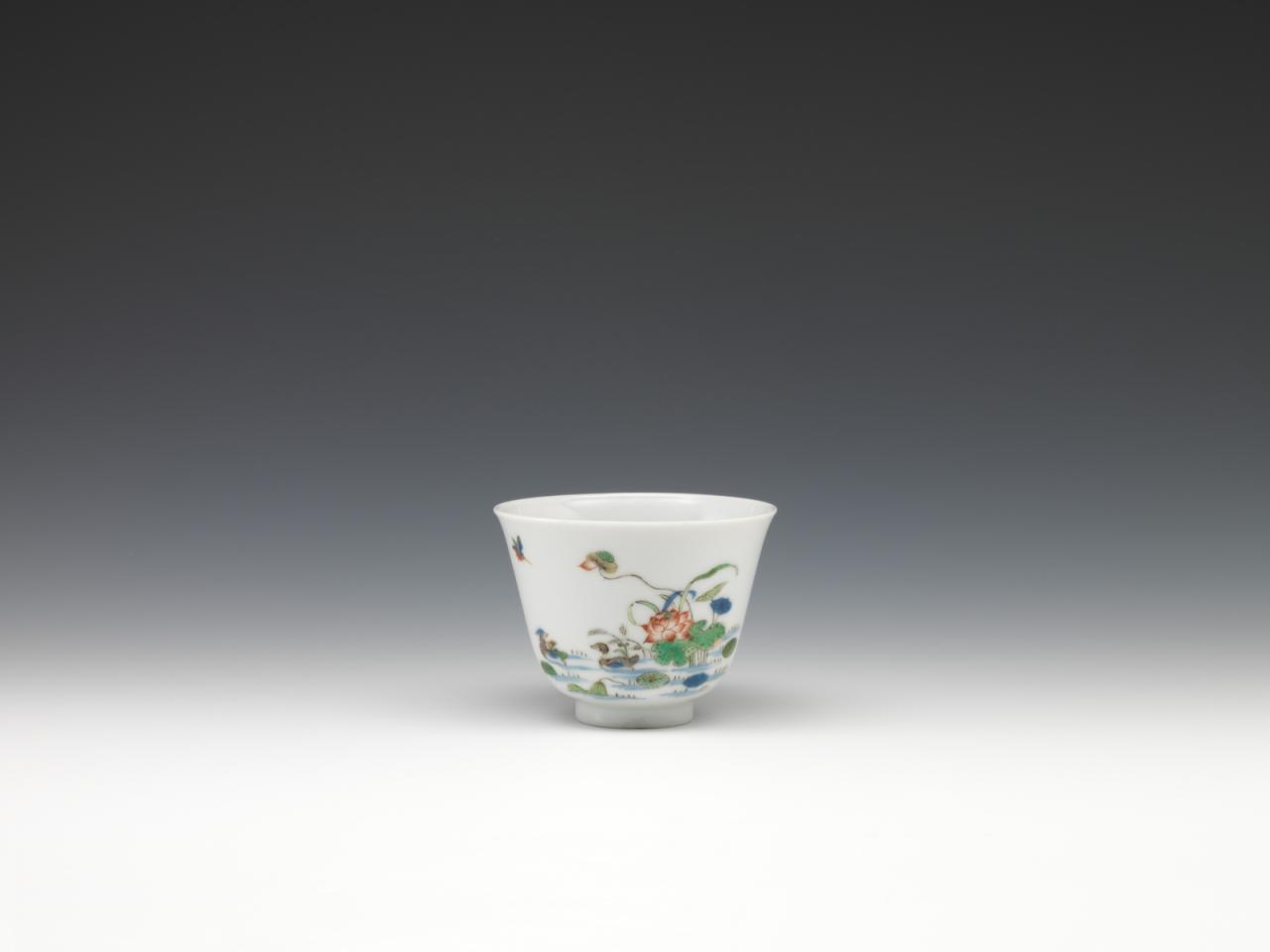 Twelve cups with flowers representing the twelve months in wucai enamels-June image