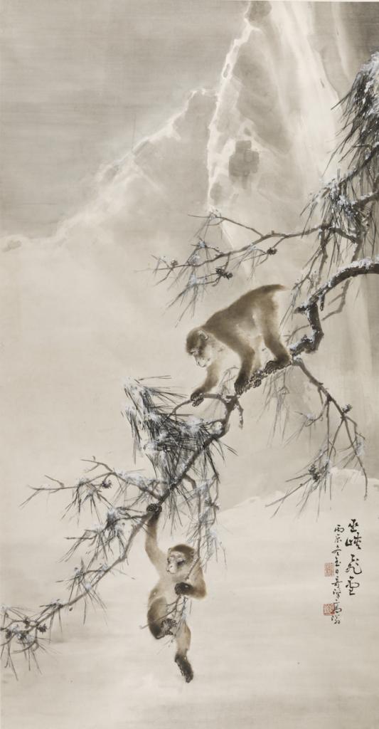 Gao Qifeng,Monkeys and snowy pine image
