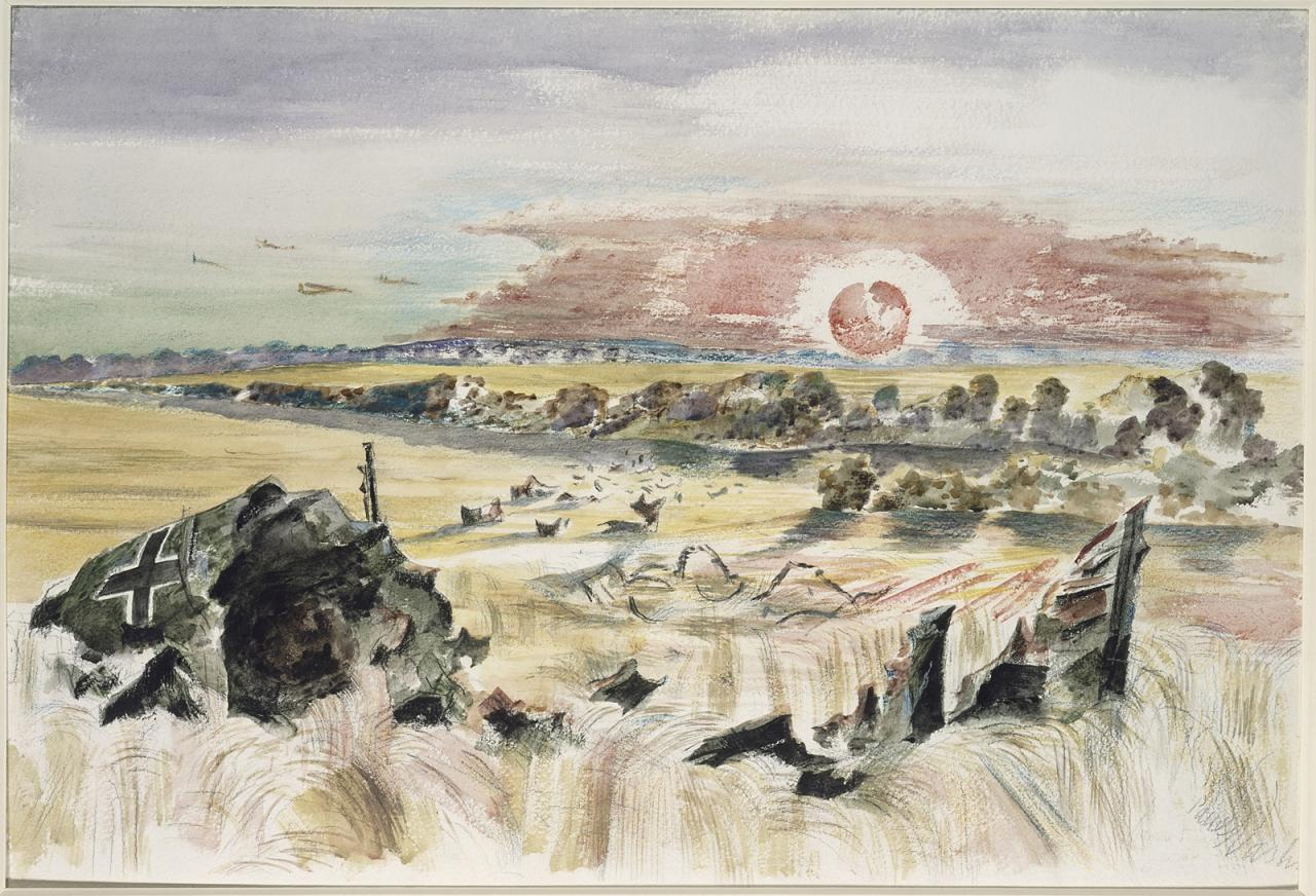 "Paul Nash, ""Bomber in the Corn"" image"