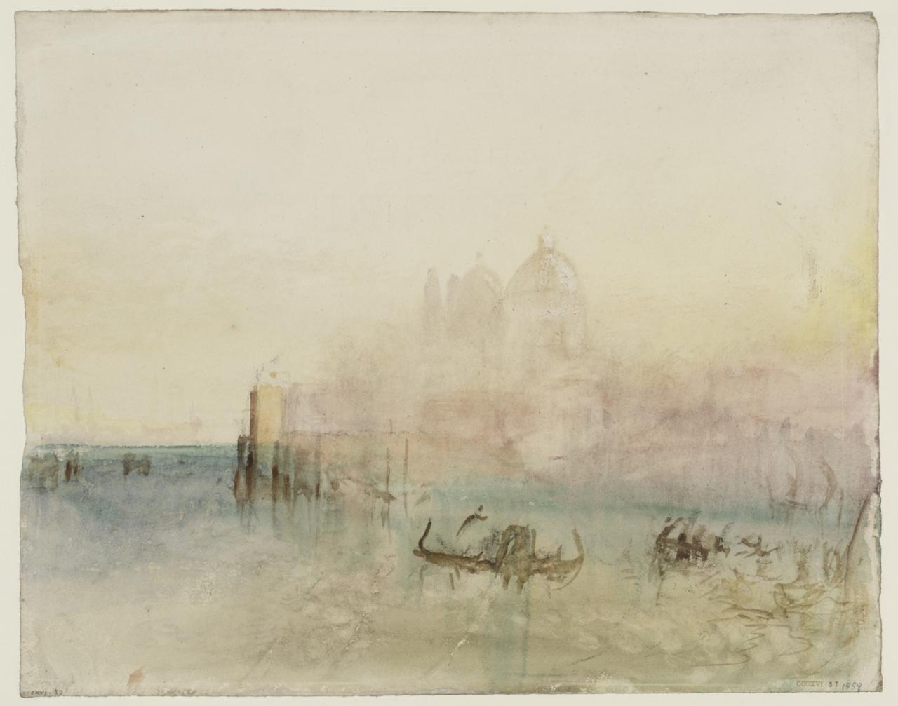 约瑟夫.马洛.威廉.泰纳《威尼斯:船坞旁的安康圣母圣殿》的图片