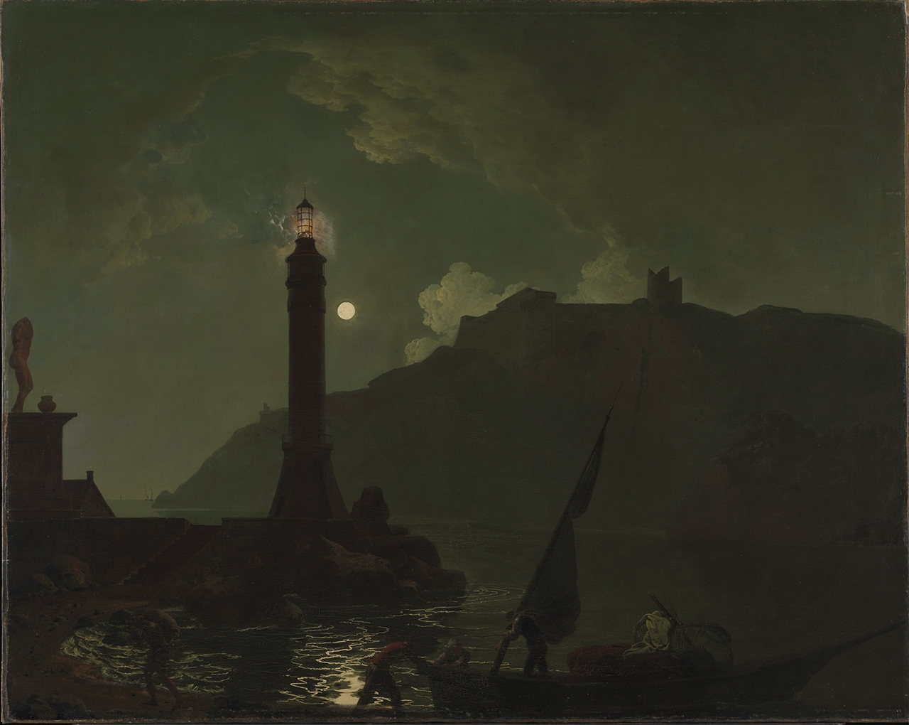 Joseph Wright of Derby,A Moonlight with a Lighthouse, Coast of Tuscany image